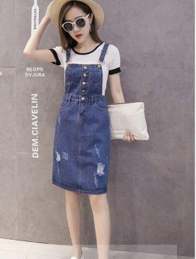 Đầm Yếm Jean Nữ D686