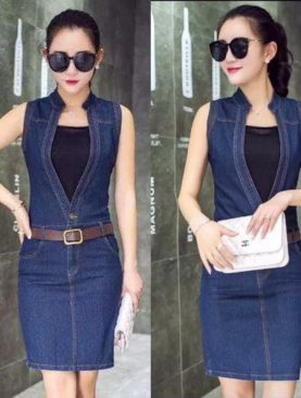 Đầm Jeans Form Ôm Cổ V Thời Trang D535 ( kèm áo)