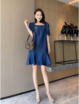 Đầm Jeans  Tay Con Thanh Lịch 789