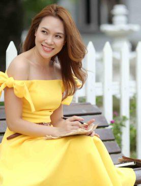 Đầm Xòe Màu Vàng Nhẹ Nhàng DH052