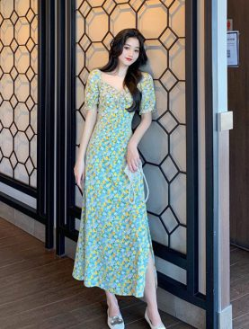 Đầm Họa Tiết Xẻ Đùi Tay Con DH055
