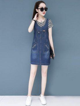 Đầm Yếm Jeans Nữ Cách Điệu D790